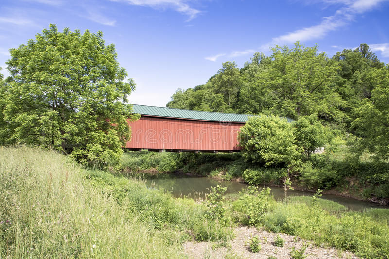 Covered Bridge Over Little Muskingum royalty free stock photos