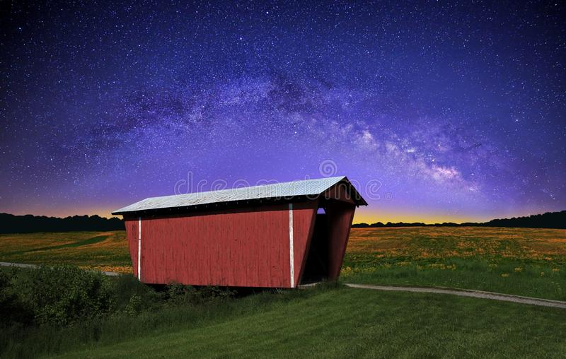 Covered Bridge under The Milky Way royalty free stock photography