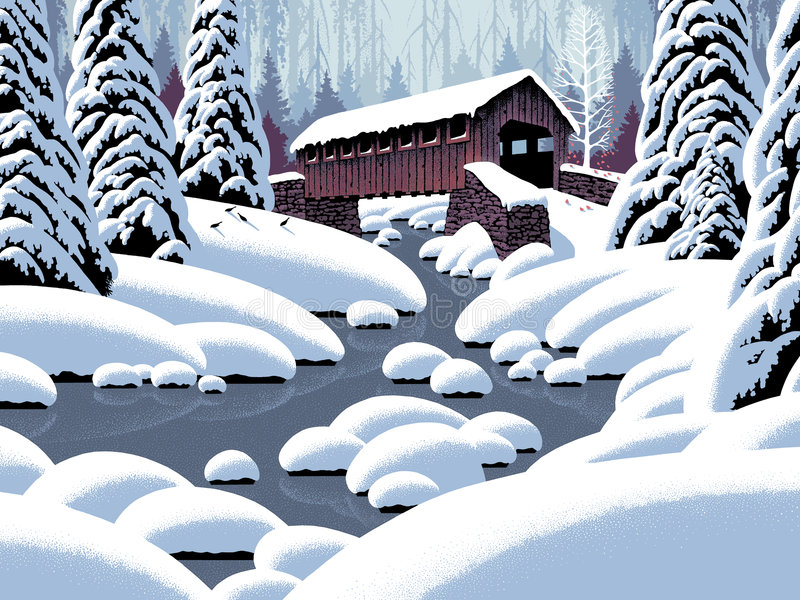 Covered Bridge in Winter. Image from an original 18x24 painting by Larry Jacobsen. / S-007 royalty free illustration
