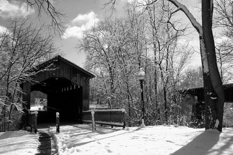 Download Covered Bridge in Winter stock image. Image of bridge, bark - 505625