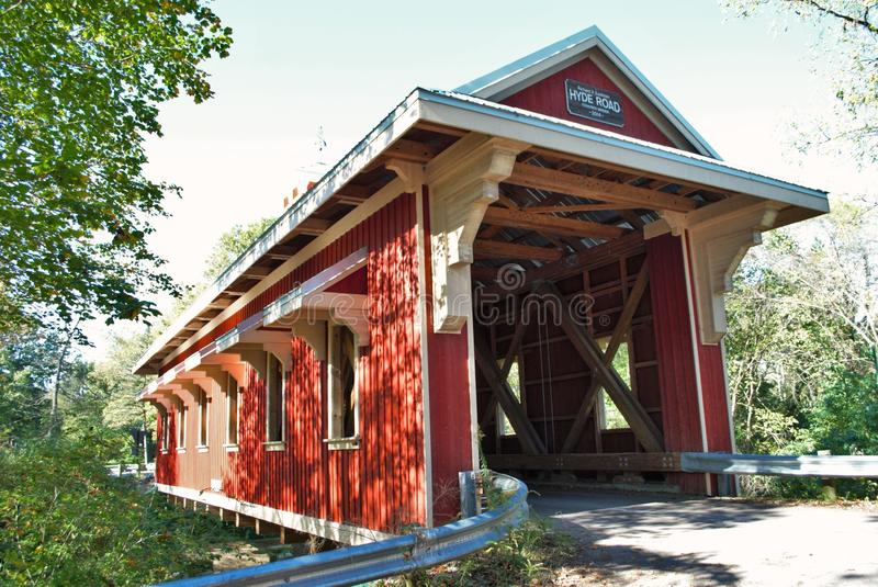 Covered bridge. In the woods royalty free stock images