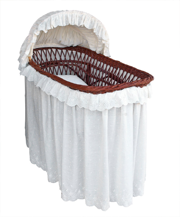 Covered Cane Bassinet. Isolated with clipping path stock image