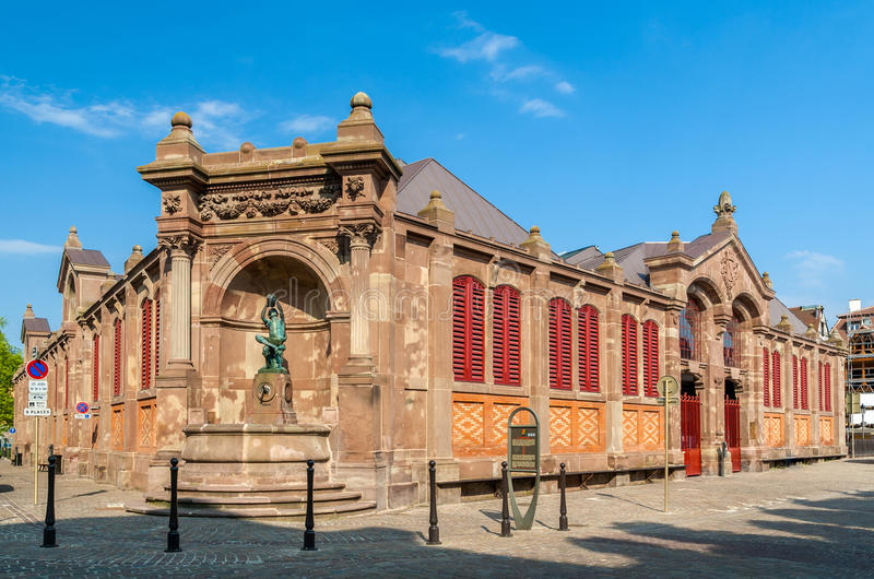 Covered market of Colmar, Alsace, France royalty free stock photography