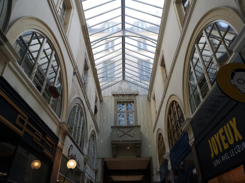 Covered passages of Paris, France. Passage Choiseul. The Covered Passage of Paris are an early form of shopping arcade built in Paris, France primarily during stock images