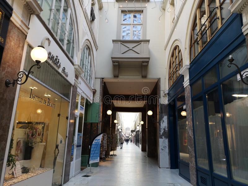 Covered passages of Paris, France. Passage Choiseul. The Covered Passage of Paris are an early form of shopping arcade built in Paris, France primarily during stock photos