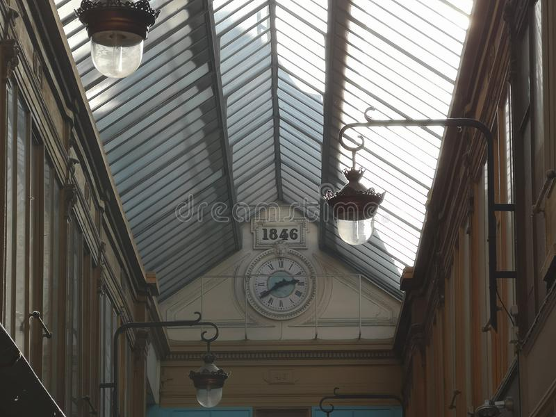 Covered passages of Paris, France. Passage Verdeau. The Covered Passage of Paris are an early form of shopping arcade built in Paris, France primarily during the royalty free stock photos