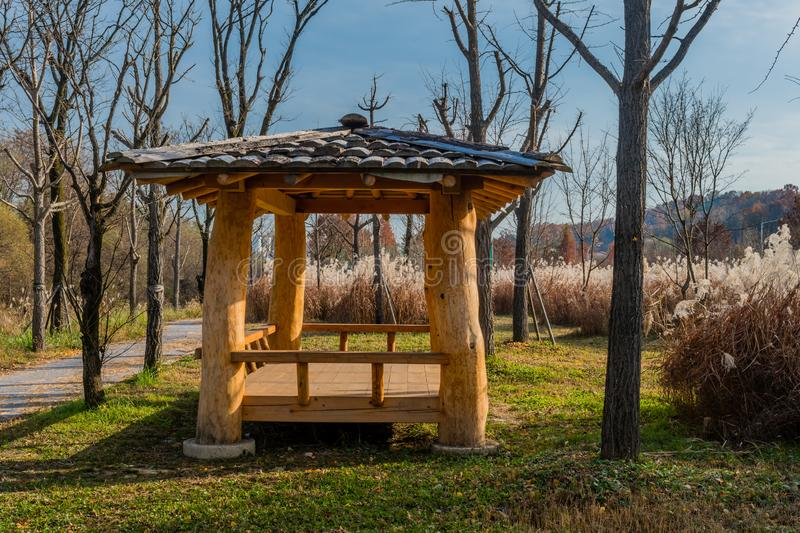 Covered picnic shelter next to field of feather grass royalty free stock photo