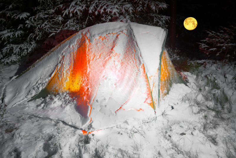 Covered with snow tent royalty free stock photo