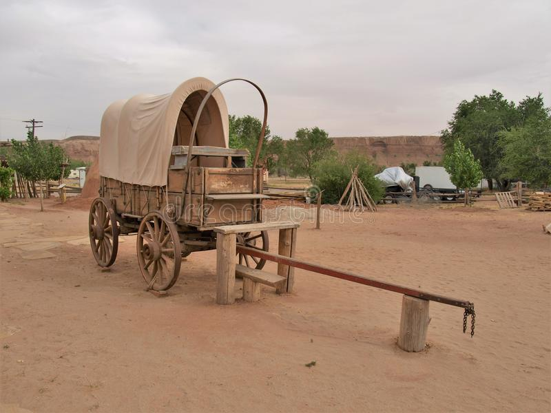 Covered Wagon at Bluff Fort Historic Site in Bluff, Utah royalty free stock photo