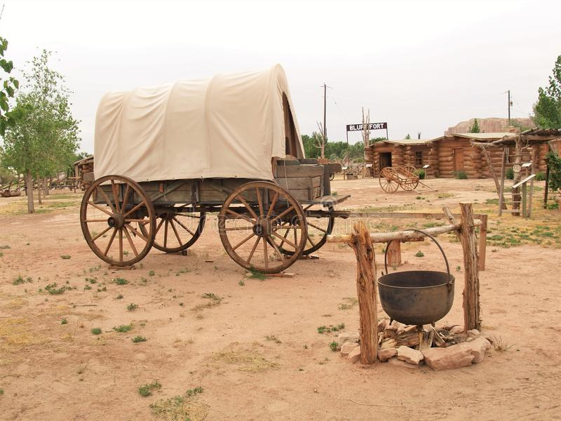 Covered Wagon at Bluff Fort Historic Site in Bluff, Utah royalty free stock image