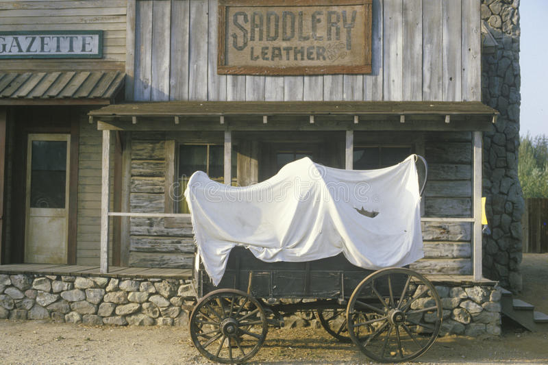 Covered wagon in front of Saddlery store. In Paramount Ranch, Los Angeles, CA stock photo