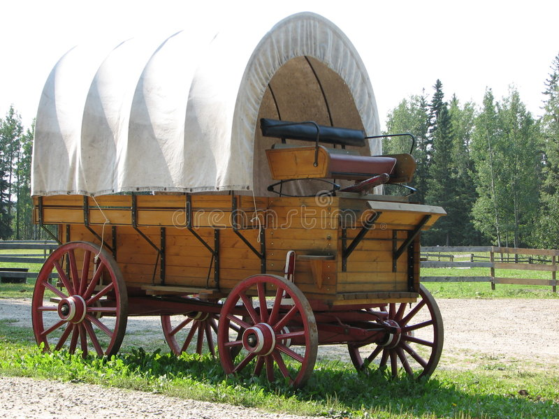 Covered Wagon, side view stock images