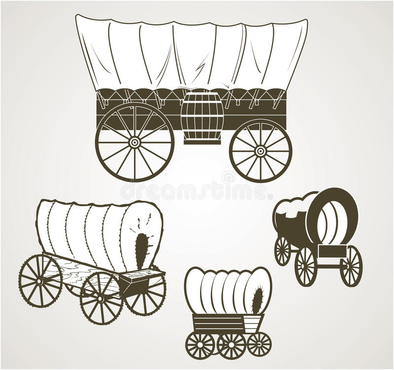 Covered Wagons vector illustration