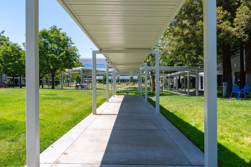 Covered walking path in a business park  in Silicon Valley, Sunnyvale, South San Francisco bay area stock image