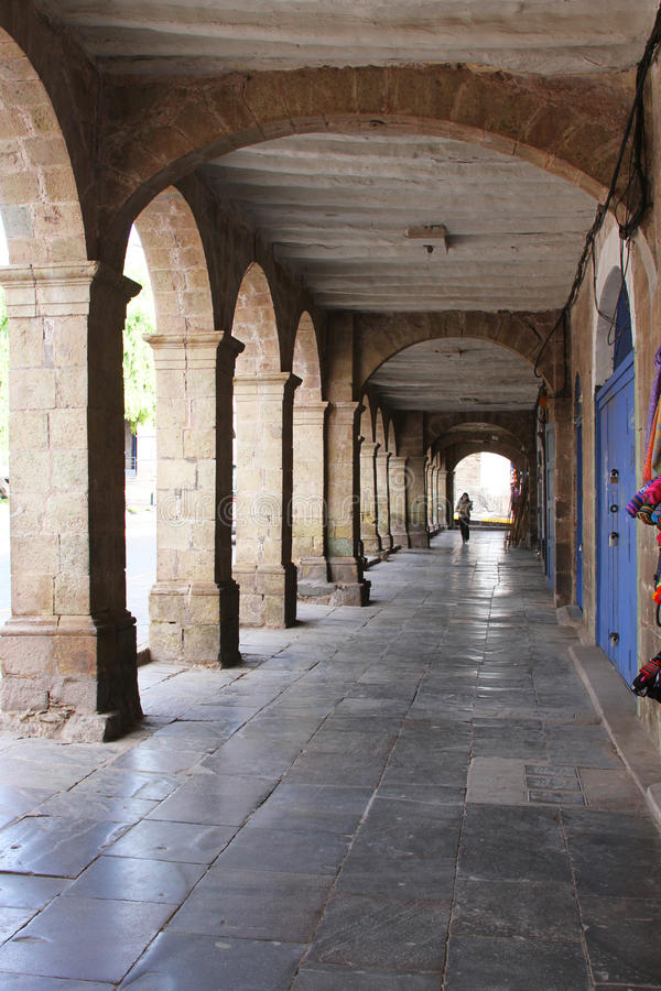 Download Covered Walkway With Arches In Cuzco, Peru Editorial Stock Image - Image: 83713049