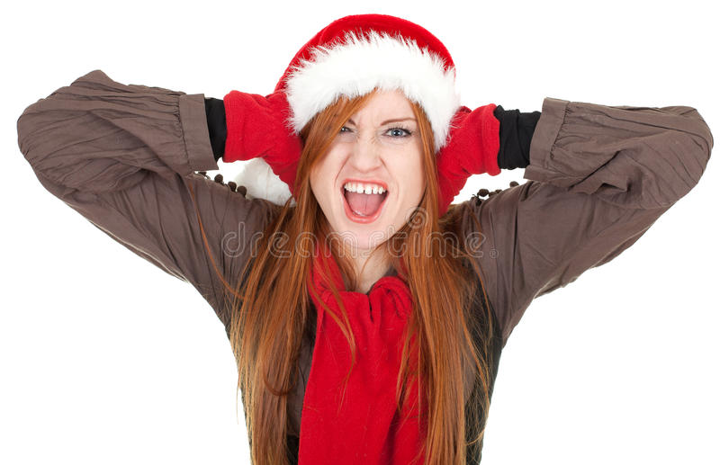 Download Covering Ears Shouting Woman In Red Christmas Hat Stock Image - Image of teenage, attractive: 16819291
