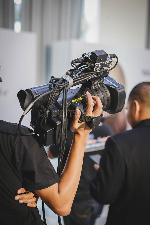 Covering on event with a video royalty free stock photo