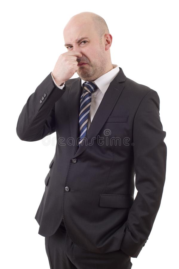 Covering his nose stock image