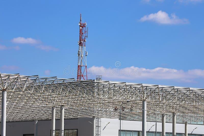 Coverings skeleton of industrial building stock image