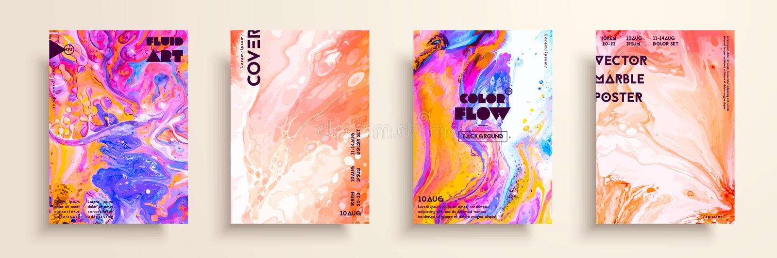 Covers with acrylic liquid textures. Colorful abstract composition. Modern artwork. Creative fluid colors backgrounds vector illustration