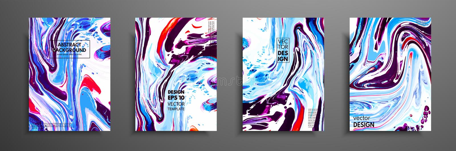 Covers with acrylic liquid textures. Colorful abstract composition. Modern artwork. Vector illustrations with mixed blue vector illustration