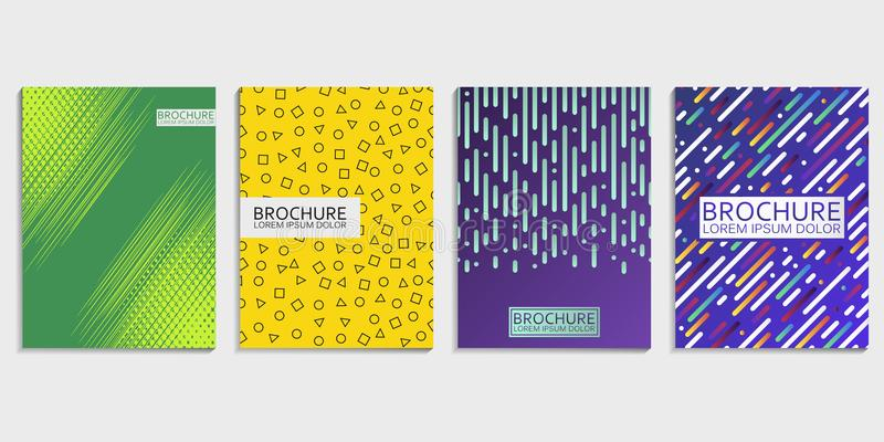 Covers design set for brochure with abstract rounded lines, gradient and halftone effect and geometric shapes pattern. vector illustration