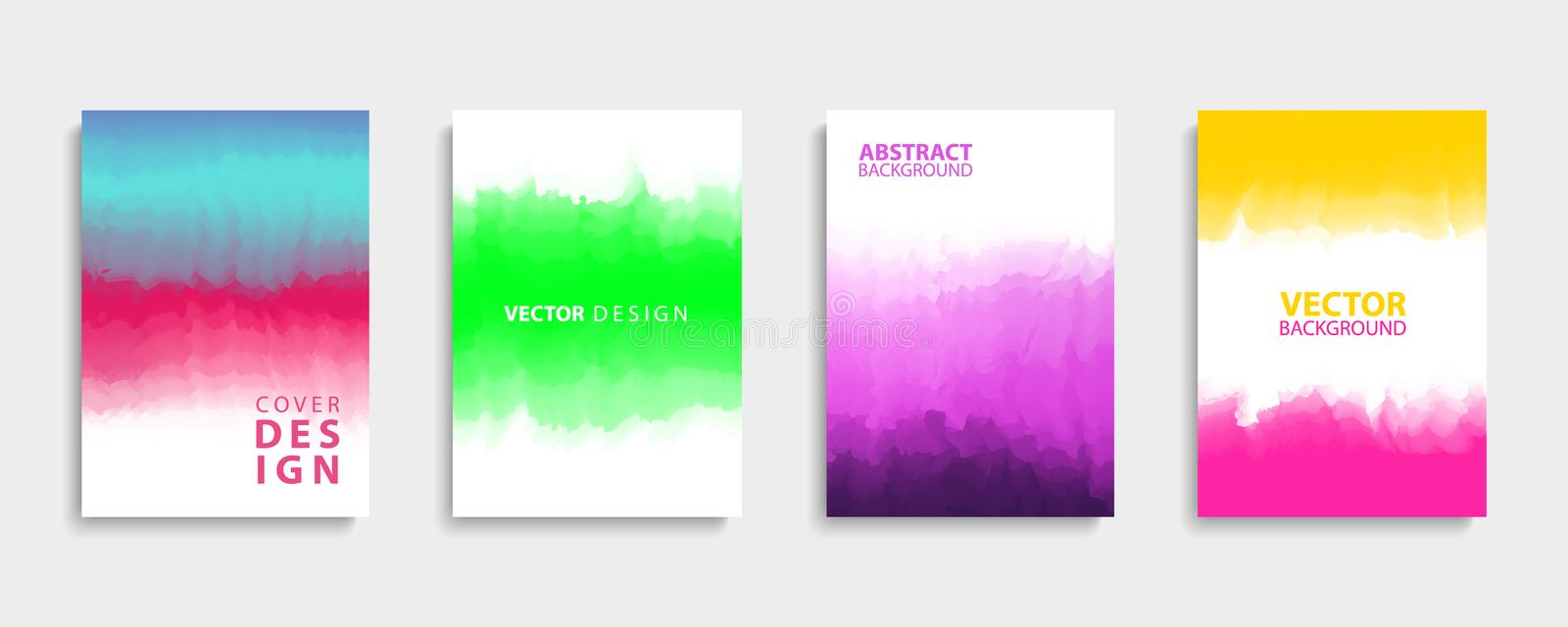 Covers design set with modern abstract color gradient patterns. Templates collection for brochures, posters, banners and cards. Vector illustration vector illustration