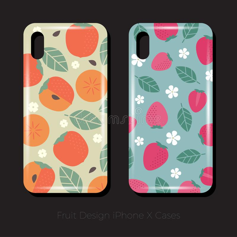 Covers for iPhone X. Juicy fruit pattern of persimmons with leaves and flowers. Strawberry pattern with leaves and flowers. Covers for iPhone X. Juicy fruit royalty free illustration