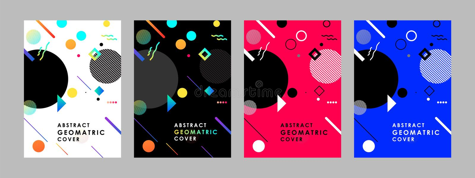 Covers modern abstract design templates set. Minimal geometric shapes compositions for flyer, banner, brochure and poster. Eps10 v stock illustration