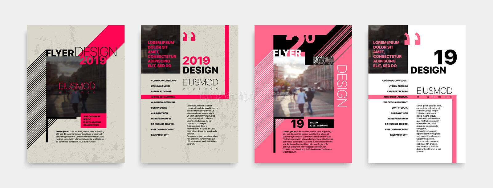Covers templates set with bauhaus style graphic geometric elements. vector illustration