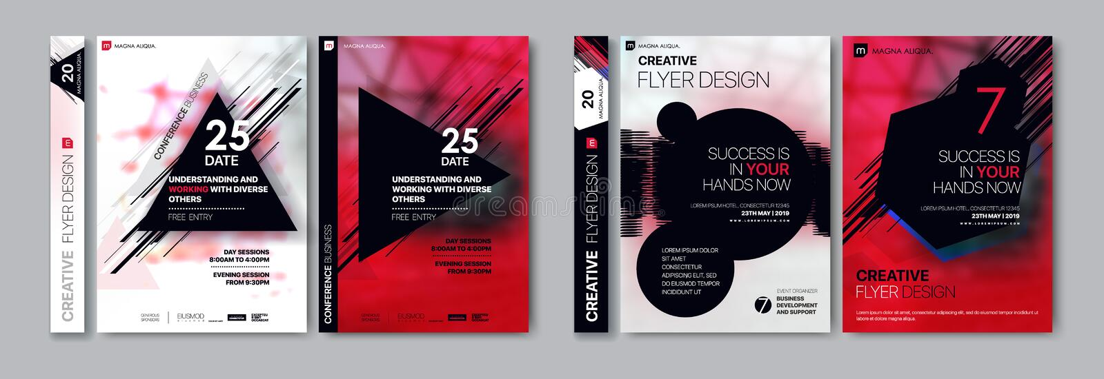 Covers templates set with graphic geometric elements. Applicable for flyer, cover annual report, placards stock illustration