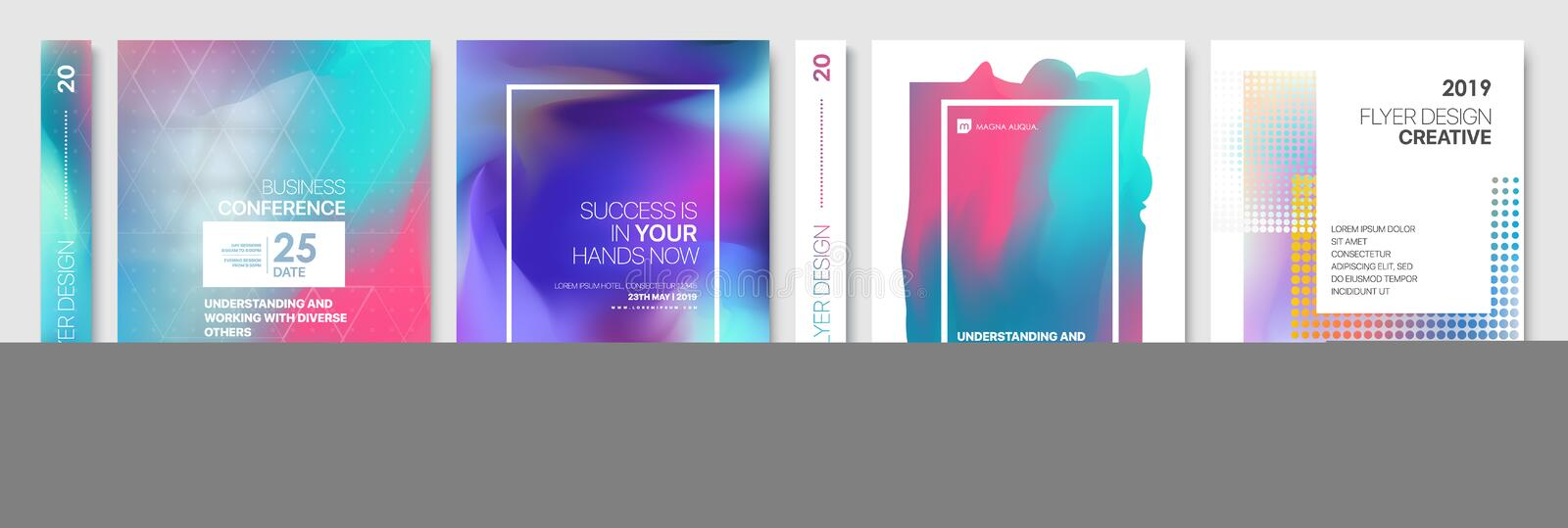 Covers templates set with graphic geometric elements. Applicable for flyer, cover annual report, placards vector illustration