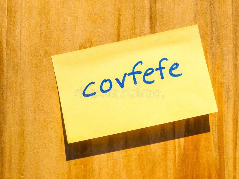 Covfefe, ein neues Wort erfunden durch Präsident Trump hdr stockfotos