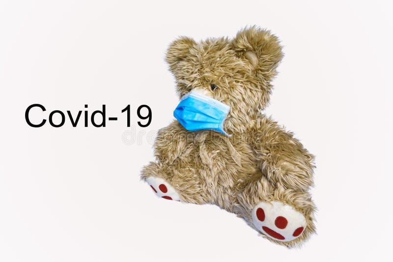 Covid病毒–19个生命危险 你必须戴上面具,才能避免这些疾病 库存图片