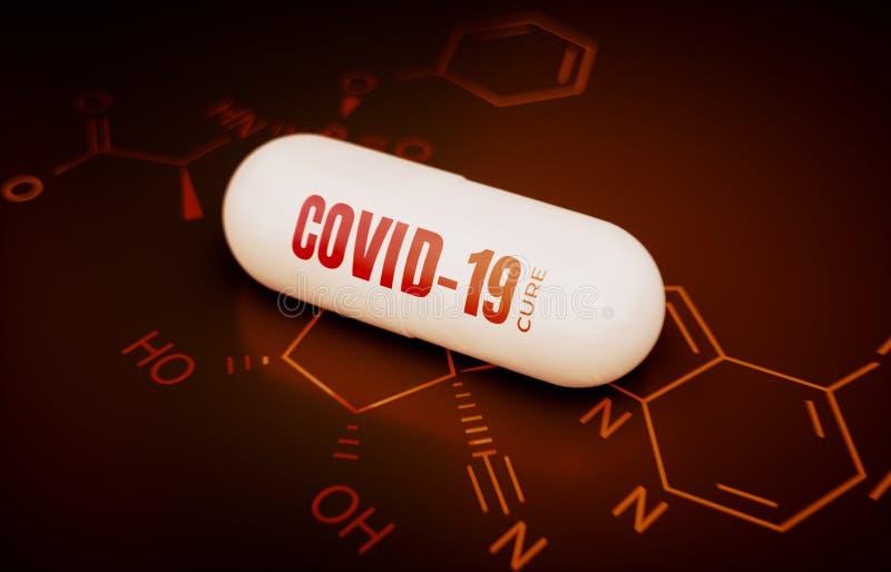 COVID-19冠状病毒治疗的概念 向量例证