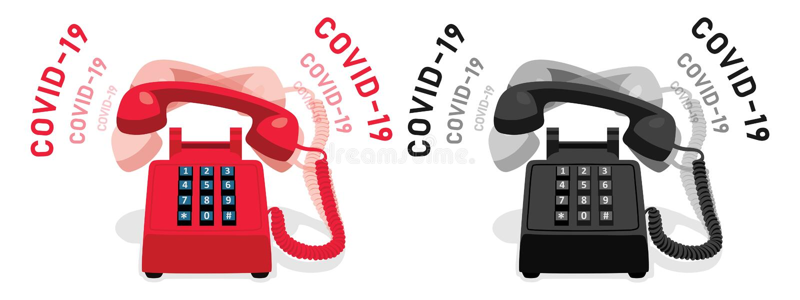 COVID-19和带按键键盘的振铃固定电话 库存例证
