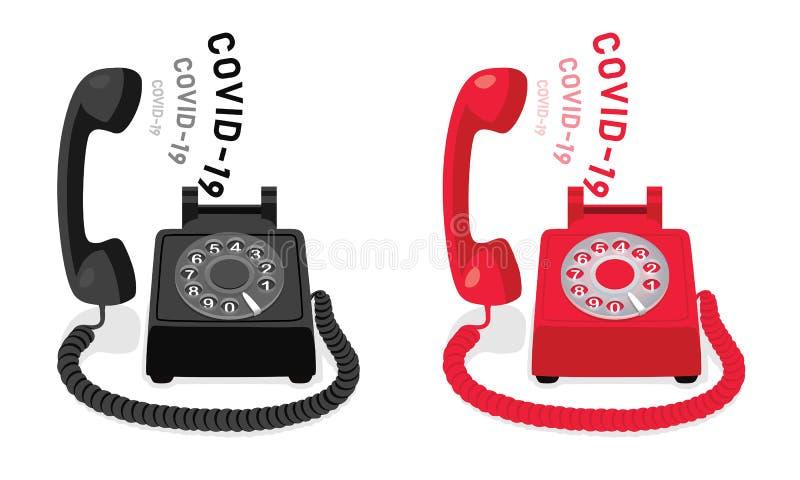 COVID-19和带旋转拨号和抬起手机的振铃固定电话 库存例证
