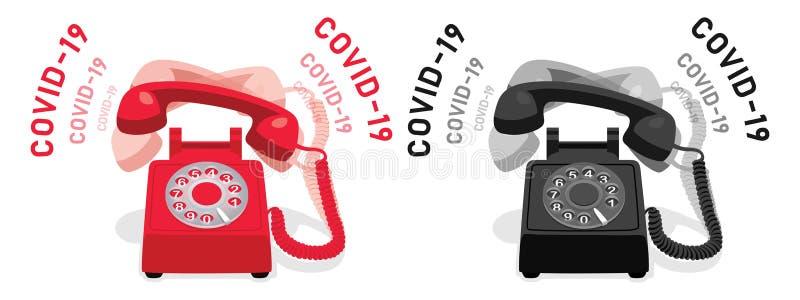 COVID-19和带旋转拨号的振铃固定电话 向量例证