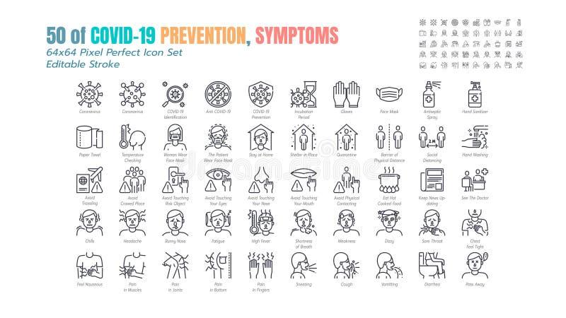 Covid-19防护线轮廓图标的简单集 诸如防护措施,冠状病毒,社会疏远,症状
