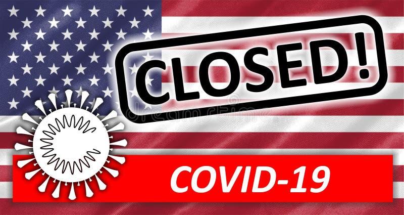 US closed COVID-19. Illustration of US flag closed COVID-19 stock illustration