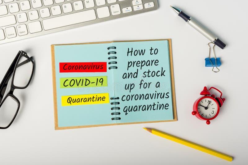Covid-19 Come prepararsi alla quarantena Pandemia Covid-19: concetto di focolaio di Coronavirus immagine stock libera da diritti