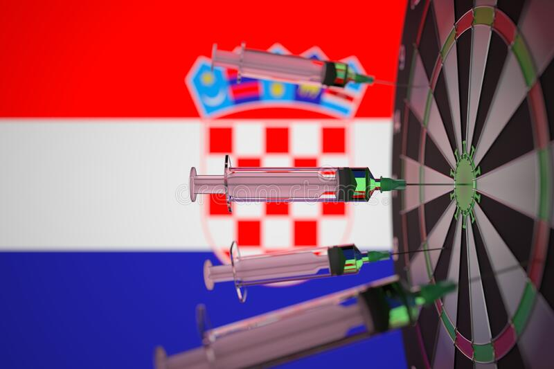 COVID-19 coronavirus disease vaccine syringes hit target against the Croatian flag. Successful research and vaccination stock photo