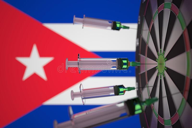 COVID-19 coronavirus disease vaccine syringes hit target against the Cuban flag. Successful research and vaccination in royalty free stock images