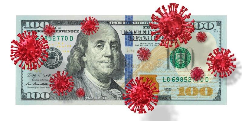 Covid-19, Coronavirus, Flu virus Contaminated infected cash money, one hundred US.  Covid 19, Corona virus with American dollar royalty free stock images