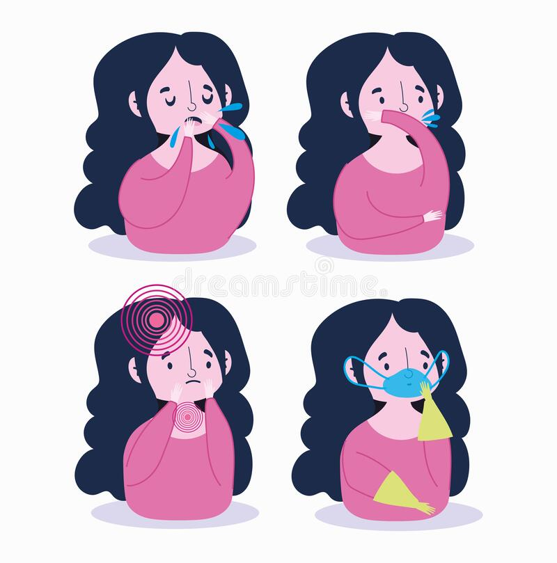 Covid 19 coronavirus infographic, girl with mask gloves and symptoms dry cough, sore throat, shortness of breath. Vector illustration royalty free illustration