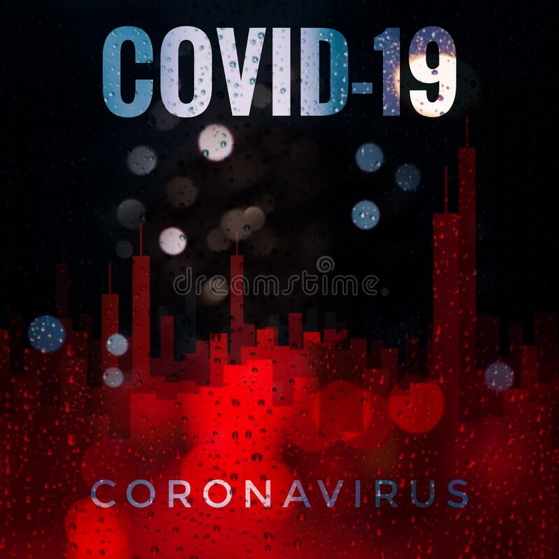 Covid-19 Outbreak. An artistic impression of the raining onto a city royalty free stock image