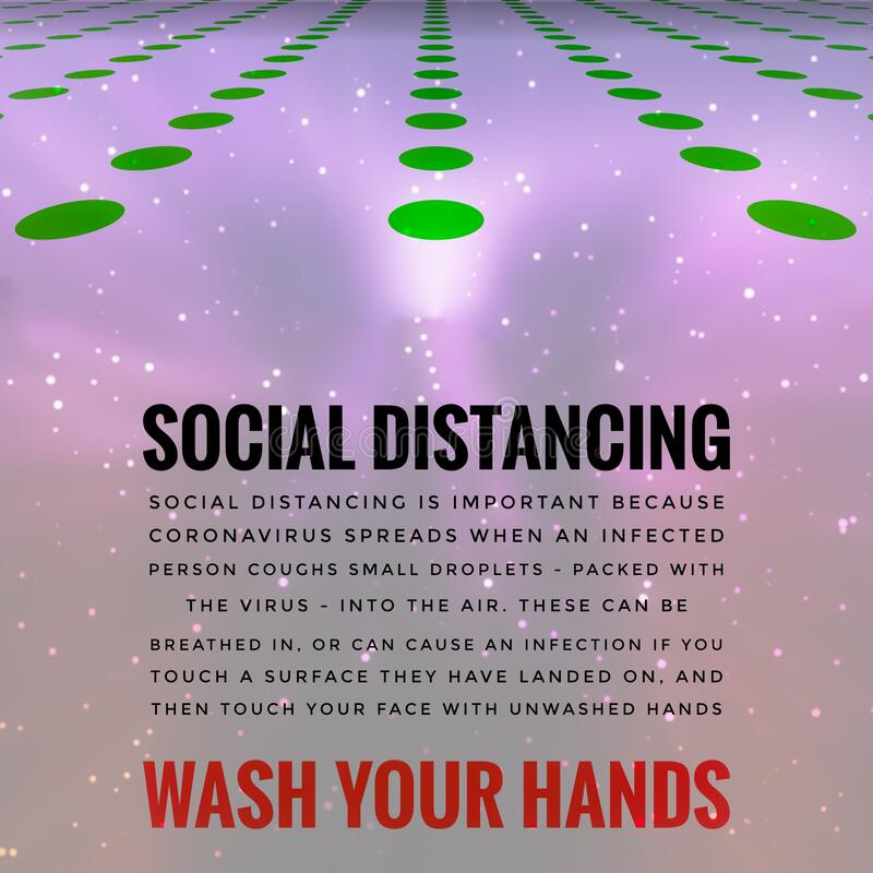 Covid-19 Outbreak Social Distancing Wash Hands Message stock illustration