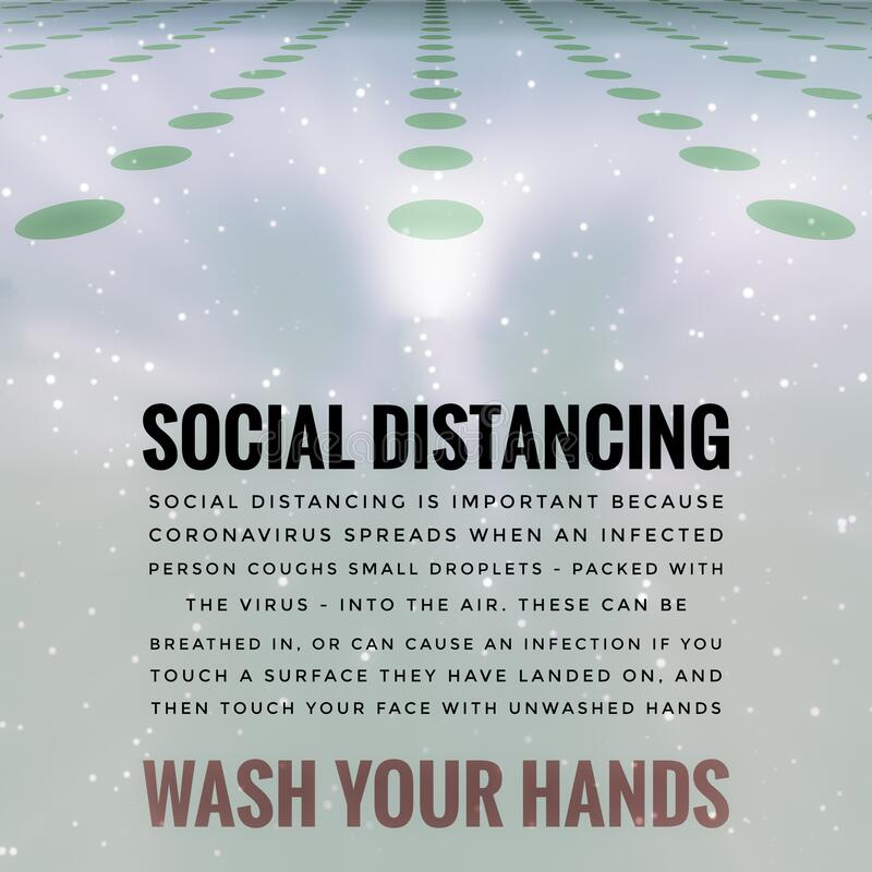 Covid-19 Outbreak Social Distancing Wash Hands Message royalty free illustration