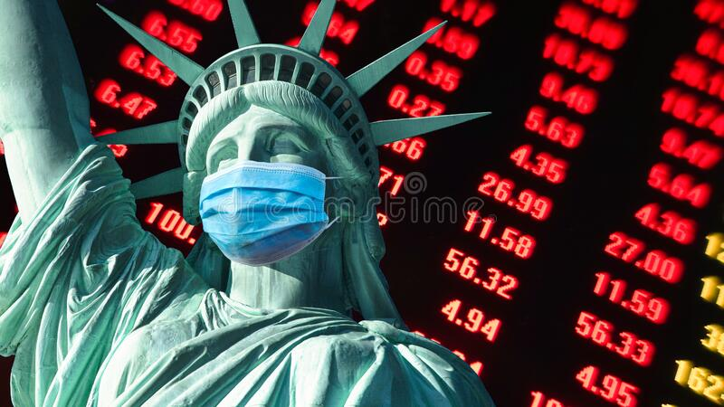 COVID-19 coronavirus in USA,affects global stock market  Statue of Liberty  with face mask royalty free stock images