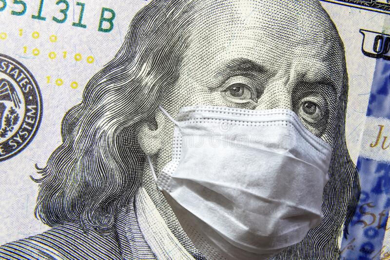 COVID-19 coronavirus in USA, 100 dollar money bill with face mask. COVID-19 affects global stock market. World economy hit by corona virus outbreak and royalty free stock photo